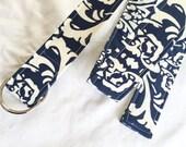 D Ring Belt, Women's Belt,Plus Size belt, teen belt, custom belt, navy and white pattern
