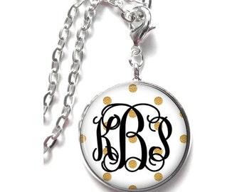 Gold Polka Dot Monogram Necklace, Monogram Jewelry, Personalize Jewelry, Monogram Gift, Monogram Accessories - Style 526