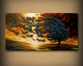 large art original painting wall art abstract painting minimalist impressionist tree painting landscape cloud painting 48 X 24 wall hanging