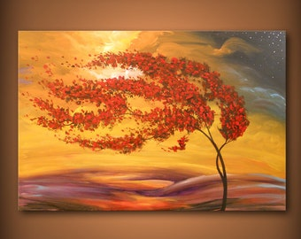 art painting landscape original art painting abstract landscape painting tree painting cloud tree art sunset HUGE 24 x 36 Mattsart
