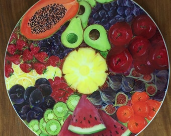 Fruit Original Hand Painted Lazy Susan Turntable Tabletop Decor 20 Inch  Diameter Functional Art By