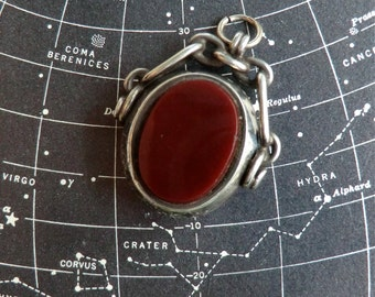 Antique Sterling Fob Pendant Carnelian Bloodstone Flip Fob Pendant English Sterling Hallmark