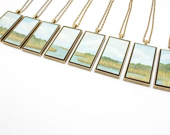 Painted Landscape Pendant - Low Country Tidal Marsh (Original Painting Section in Brass Rectangle Setting)