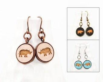 Rhino Dangle Earrings - Laser Engraved Wood (Choose Your Color)