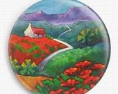 Needle Minder, Poppy Cottage,  Licensed Art, Gillian MowbrayPoppy Field,  Cross Stitch Keeper,  Fridge Magnet
