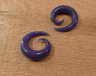 Glass Spiral 00g purple glass spiral 00 gauge spiral
