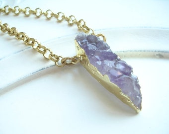 Amethyst February Birthstone Druzy Necklace 22kt Goldplate and Brass