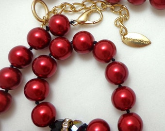 Coldwater Creek Necklace Cranberry Red Black Rhinestone Rondelles Iridescent 802