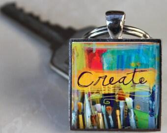 Create RAINBOW PAINT BRUSHES Charm Keychain Keyring Paint Splatter Artist Painter Gift art major art teacher gift Key Ring Purse Charm