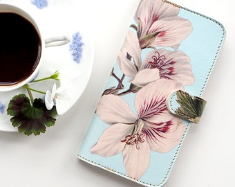 Leather iPhone 7 case, Galaxy S6 Case, iPhone 6s Plus Case, iPhone 5s SE Case - Rose Scented Geranium Folio Flip Wallet Style Phonecase