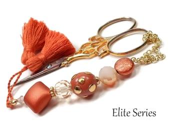 Copper Orange Brown Scissor Fob Beaded Scissor Keeper Scissor Minder Elite Series Needlepoint Quilting Sewing Cross Stitch Crafts