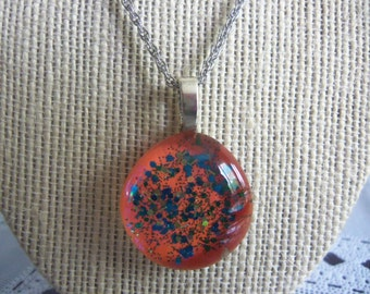"20"" Silvertone Necklace with Orange & Glittery Glass Pendant"