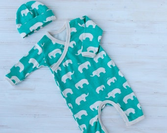 Elephant Romper - Organic Newborn Going Home Outfit - Gender Neutral - Boy Coming Home Outfit - Elephant - Romper and Hat - Made To Order