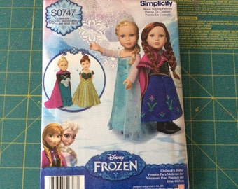 """Simplicity Pattern SO747 for 18"""" Doll Frozen Costumes"""