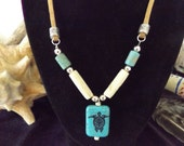 Turtle print Turquoise and Bone Necklace, Turtle Clan Tribal Jewelry, Tortoise, Sea Turtle, Native American Inspiered