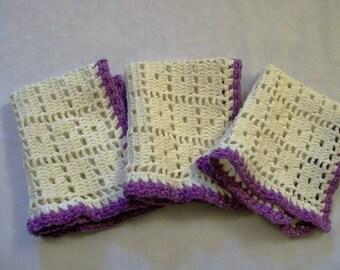Vintage Crochet, Vintage Doily, Set of Doilies, White And Purple Doily, Rectangle Doily, Rustic Decor