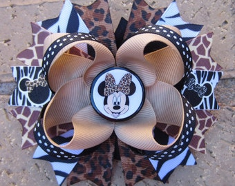 Minnie Mouse Safari Animal Print Hair bow Zebra Leopard Boutique Hair Bow for Animal Kingdom