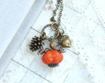 Pumpkin Charm Necklace Pine Cone Necklace Fall Necklace Acorn Necklace Autumn Necklace Fall Jewelry