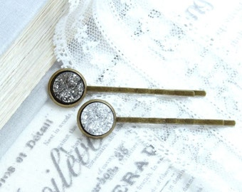 Druzy Hair Pins Hair Pin Set Silver Bobby Pin Sparkly Hair Pins Druzy Bobby Pins Bobby Pin Set