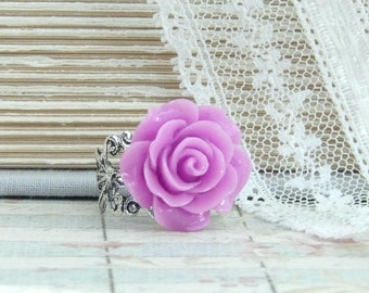 Purple Rose Ring Adjustable Ring Purple Floral Ring Shabby Chic Jewelry Purple Flower Ring Rose Cabochon Ring