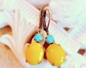 CIJ Sale 20% Off Bright Yellow Earrings - Turquoise Jewelry - Turquoise Earrings - Sunshine Yellow Earrings - MYSTERE Sunshine