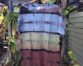 Mens Large premium multicolor blue green brown Shibori Landscape tie Dye T-shirt