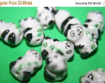 PRE-XMAS SALE Closeout Sale - Traditional Chinese Ceramic Panda Beads -16mm x 10mm- 10 pcs