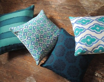Four coordinating teal, turquoise and indigo linen decorative pillow covers fringed stripe 18 x 18 hand block printed boho home decor