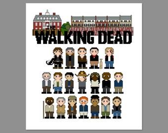 The Walking Dead Season 6B Pixel People Character Cross Stitch PDF PATTERN Only