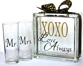 Unity Sand Ceremony Glass Containers - Glass Block with XOXO Love Always Gold and Black Theme -  Side vessels with Mr and Mrs