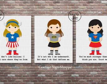 Girls Superhero Inspirational Art, Superhero Inspirational Quotes, Superhero Quotes, INSTANT DOWNLOAD, YOU Print, Girls Superhero Art