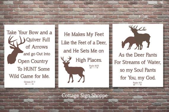 Hunting Scripture Decor, Christian Hunting Decor, INSTANT DOWNLOAD, Psalm 42:1, Genesis 27 3, Psalm 18 33, Deer Signs, Deer Scripture Sign