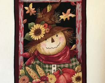 Fall Quilted Wall Hanging - Autumn Blessings, Scarecrow, and Sunflowers Quilt in Brown, Gold, Rust and Green, Quiltsy Handmade