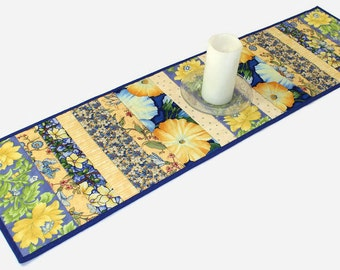 Blue and Yellow Floral Quilted Table Runner, Spring Quilt, Summer Table Runner Quilt, Strip Quilt