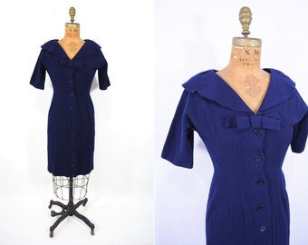 1950s dress vintage 50s navy blue fitted wool button down dress S