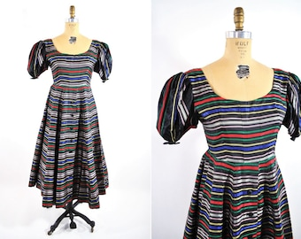 1980s dress vintage 80s does 40s rainbow striped taffeta party dress M