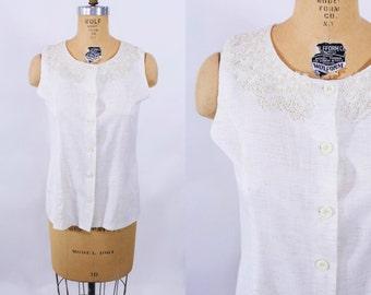 1990s blouse vintage 90 beige lace detail button down linen look sleeveless top S