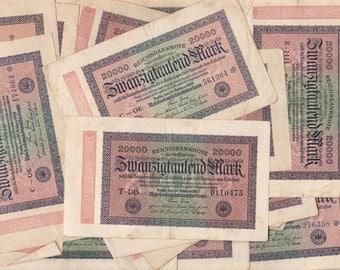 2 Piece Vintage German Reichsbanknote 20000 Mark Paper Money Notes 1923