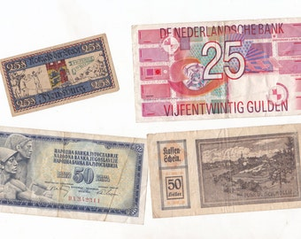 4 Piece Vintage Assorted Country Bank Notes Paper Money for Crafting