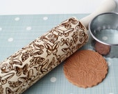 Embossing rolling pin, Butterfly design, Cookie decorating rolling pin