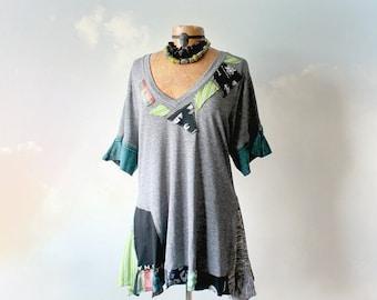 Grey Upcycled T-Shirt Rustic Design V-Neck Bohemian Chic Shirt Plus Size Women's Tattered Gypsy Tunic Art To Wear Eco Fashion XL 1X 'EDEN'