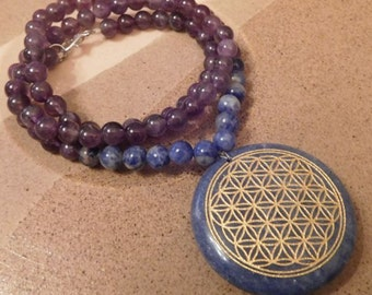 Sodalite Crystal Sacred Geometry Flower of Life Necklace