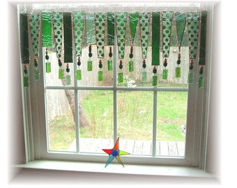 My Green Heaven Assorted Greens  Stained Glass Window Treatment Kitchen Valance Curtain