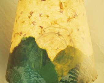 Paper Collage Lampshade, Washer Top Drum Lamp Shade, Mountain Scene Lampshade, Torn Paper Landscape Collage, Decoupage Pressed Ferns Shade