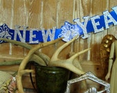 1960s Vintage Fancy Glittered Die Cut Happy New Year Banner