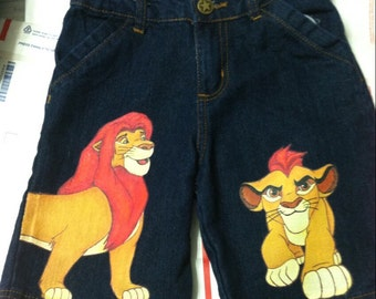 Choice of 2 Characters Hand Painted Disney Lion King or Lion Guard jean SHORTS 0-24 months, 2- 12 teen
