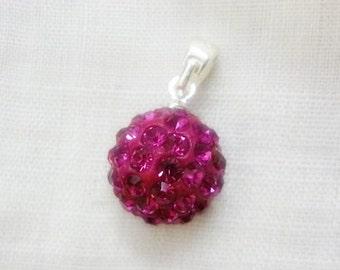 SALE Crystal Ball Sterling Pendant,Disco Raspberry Crystal Ball Pendant
