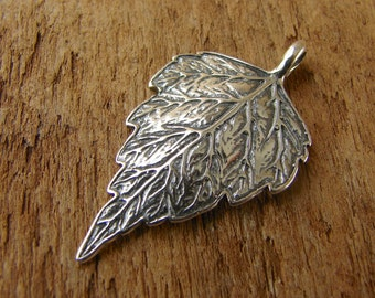 Sterling Silver Rustic Leaf Pendant - One Piece - prlp