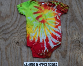 Jungle Fruits Tie Dye Baby Onesie (American Apparel Organic Cotton 18-24 Months 4001ORG) (One of a Kind)