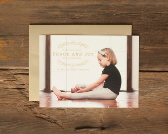 Custom Holiday Photo Cards - Personalized Christmas Card - Peace and Joy